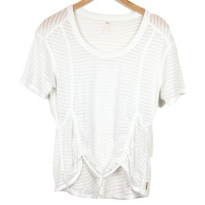 Lucy Striped Sheer White Workout T-Shirt